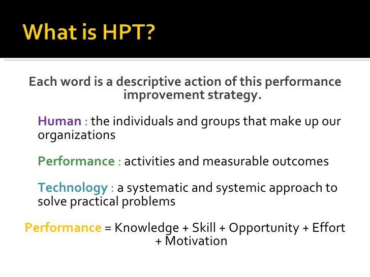Performance Technology: Human Performance Technology (hpt
