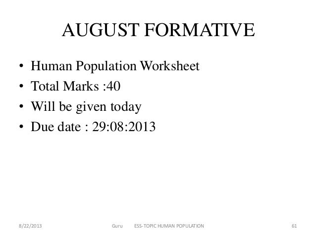 Human population – Human Population Worksheet