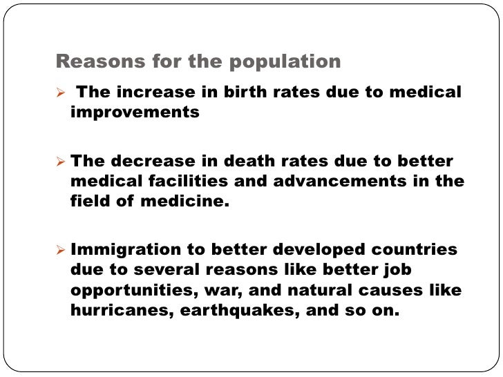 reasons for increase in population
