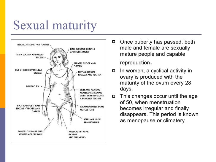 Sexual maturity in humans