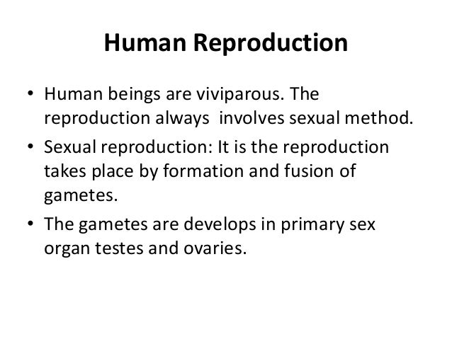 Human Reproduction • Human beings are viviparous. The reproduction always involves sexual method. • Sexual reproduction: I...
