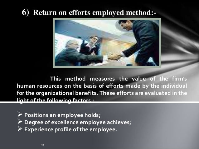 7)Adjusted discounted future wages method:- Roger H. Hermanson developed this model wherein he recommends measuring the va...