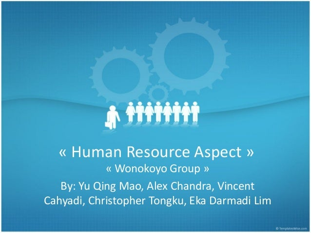 « Human Resource Aspect » « Wonokoyo Group » By: Yu Qing Mao, Alex Chandra, Vincent Cahyadi, Christopher Tongku, Eka Darma...