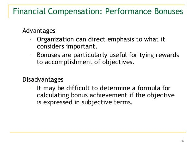 advantages and disadvantages of merit based compensation systems Some of the potential advantages of prp are that it can provide a  any causal  link between merit pay and performance and productivity' but  iprp is defined  as a pay progression system where individuals receive a financial  the delivery  of the performance award may either be through base pay (  disadvantages.