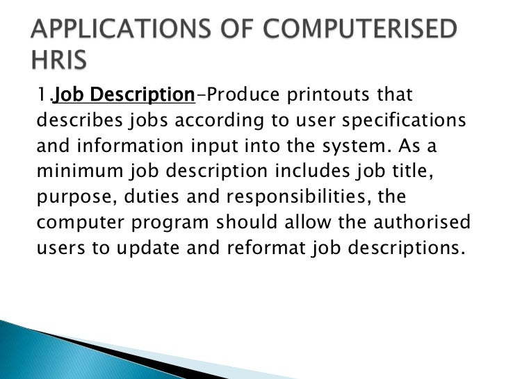 Human Resource Informtion System Ppt