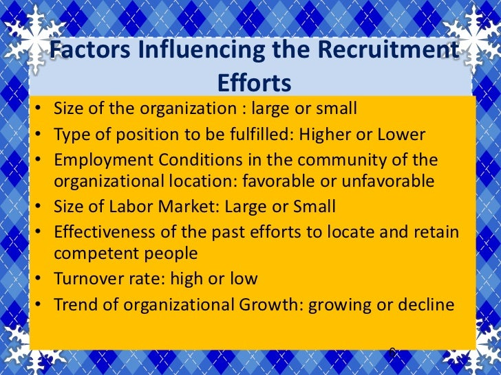 factors inhibit recruitment efforts by organizations The recruitment function of the organisations is affected and governed by a mix of various internal and external forces here, you will find the factors affecting the recruitment.