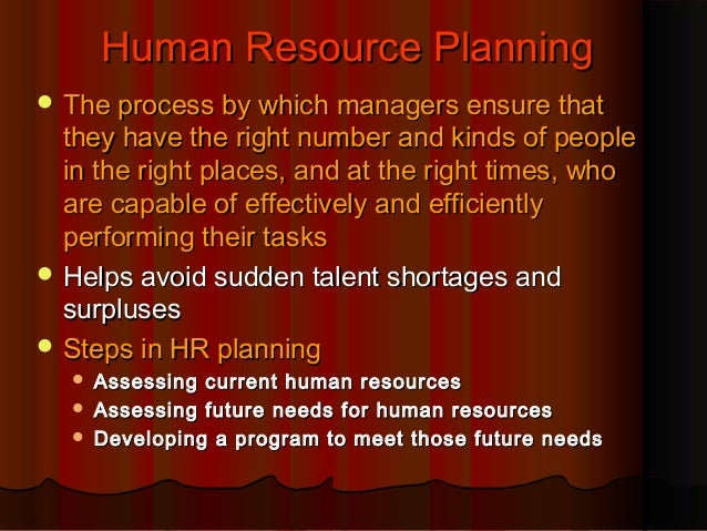 Human Resource Planning  The process by which managers ensure that  they have the right number and kinds of people in the...