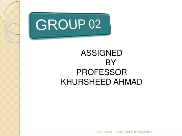 12/12/2013 COMPOSED BY SHAKILA 1 ASSIGNED BY PROFESSOR KHURSHEED AHMAD