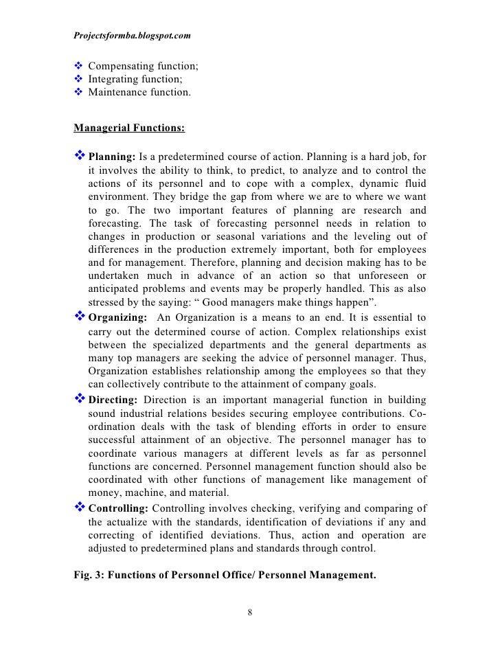 Projectsformba.blogspot.com Compensating function; Integrating function; Maintenance function.Managerial Functions: Pl...