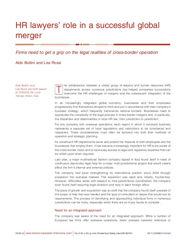 an analysis of human resource management in cross border mergers Human resources retention and knowledge transfer in mergers and acquisitions 28 november 2013 | journal of management & organization, vol 19, no 02 interpersonal cross-cultural contact: exploring the role of cultural encounters as antecedent to cultural competence at workplace.