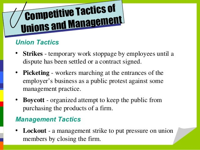 management on labor unions Abstract this article presents the perception of human resource (hr) top managers at strategic level in brazilian corporations regarding labor union activity it is a quantitative study about the perception of 354 experienced hr top managers on the unionization of employees, influence of the union on the.