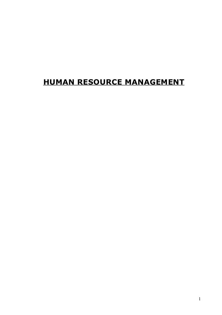 Human resource management notes mba