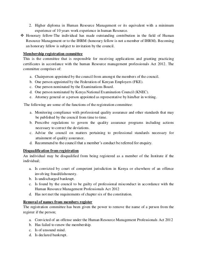 Human Resource Management Professionals Act 2012 Summary Kenya