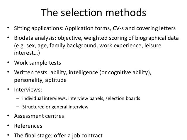 human resource management selection methods of mnc  by