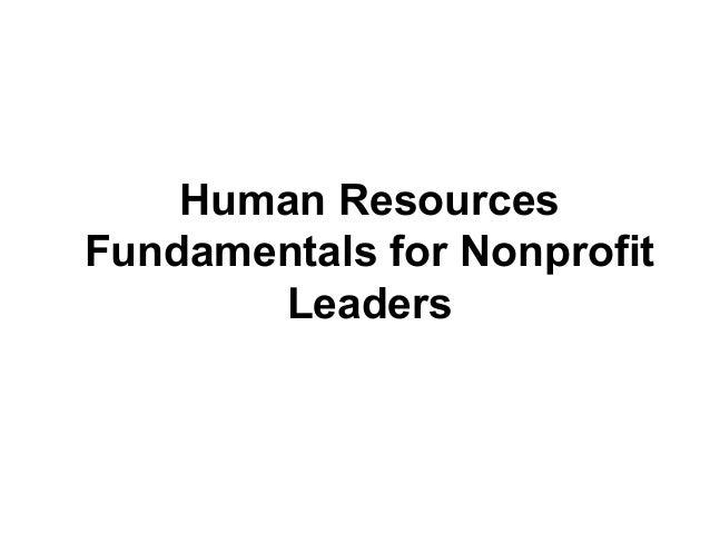 Human ResourcesFundamentals for NonprofitLeaders
