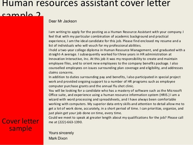 Cover Letter Sample Yours Sincerely Mark Dixon 3 Human Resources Assistant