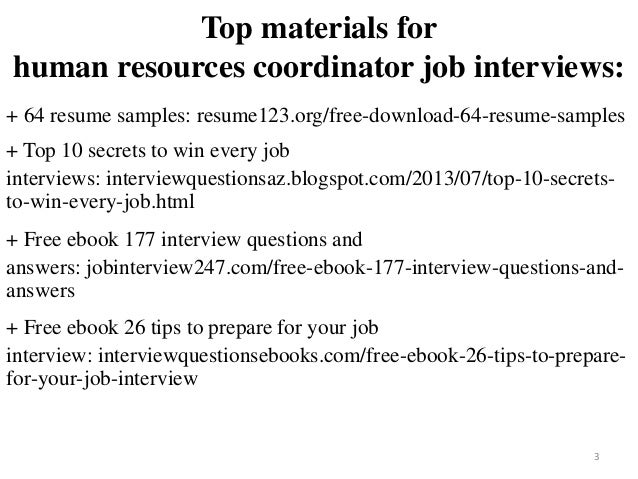 2 3 Top Materials For Human Resources Coordinator Job Interviews 64 Resume Samples