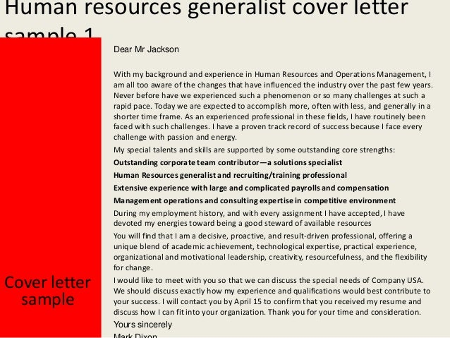 Human Resources Generalist Cover Letter ...  Cover Letter For Human Resources