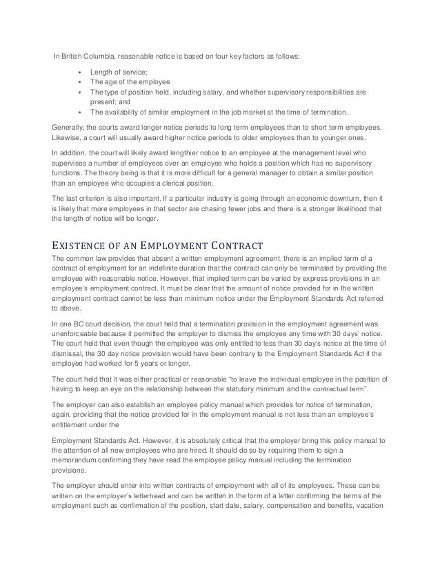 2 Employment Standards Act, R.S.B.C 1996; 12.  Employment Termination Letter Template