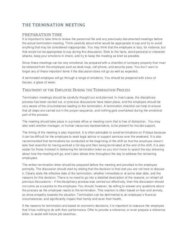 Human Resources Insight Termination Training Manual – Human Resources Representative
