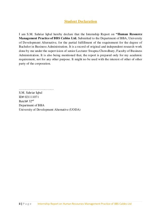Internship report on bbs cables hr