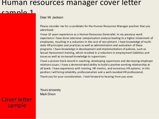 Human Resources Manager Cover Letter ...  Cover Letter For Human Resources Position