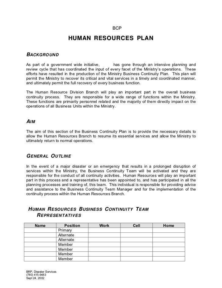 human resources plan template 2