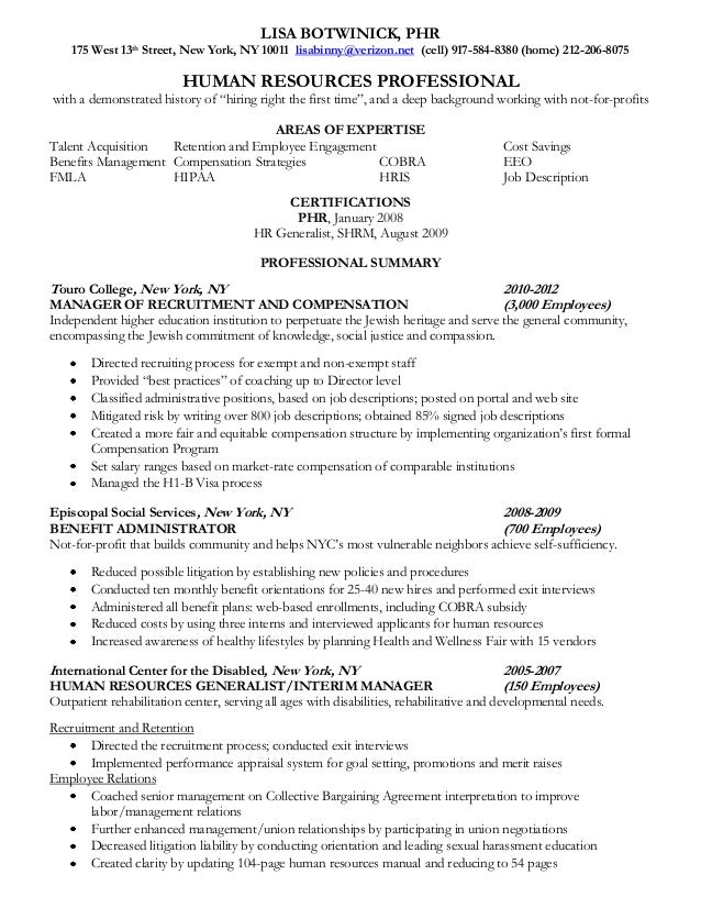 human resources professional resume