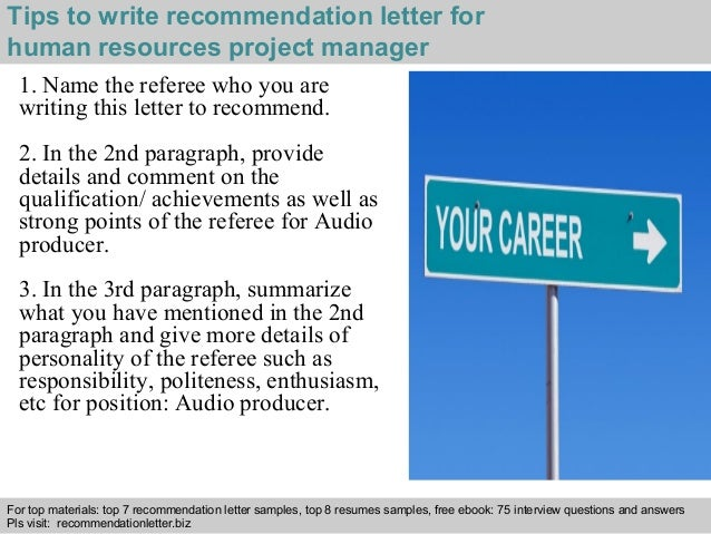 Human resources project manager recommendation letter 3 spiritdancerdesigns Choice Image