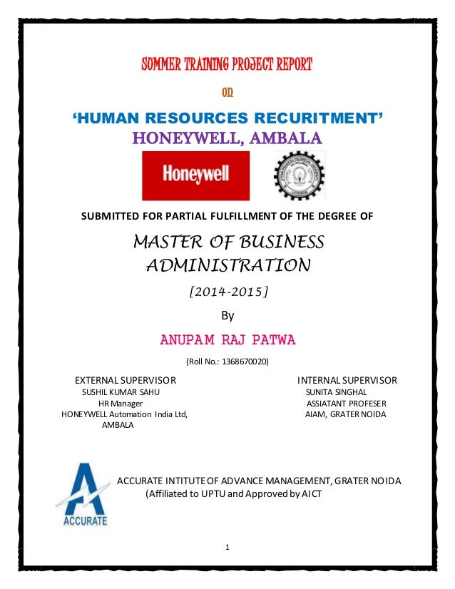 mba project report in hr