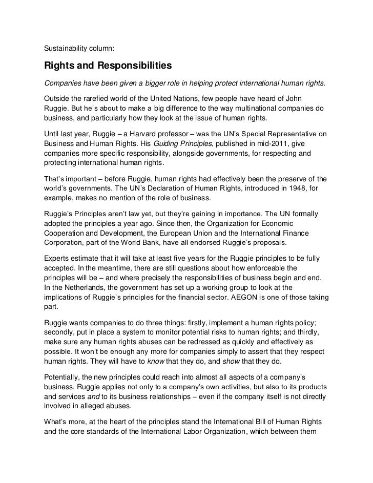 Sustainability column:Rights and ResponsibilitiesCompanies have been given a bigger role in helping protect international ...