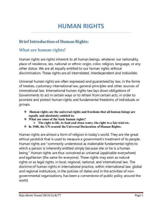 HUMAN RIGHTS Brief Introduction of Human Rights: What are human rights? Human rights are rights inherent to all human bein...