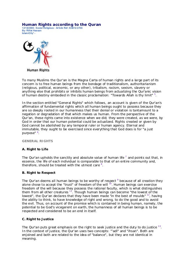 Human Rights according to the Quran12/18/2008 - Social Religious - Article Ref: IC0812-3756By: Riffat HassanIslamiCity* -T...