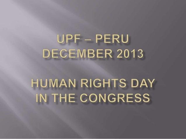 Rev Dr Trevor Jones President UPF Peru  Mr Juan Alvarez Vita Peru Diplomatic Corp adviser to the United Nations  Congressm...
