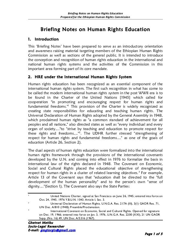 Briefing Notes on Human Rights Education                        Prepared for the Ethiopian Human Rights Commission        ...