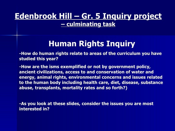 Human Rights Inquiry -How do human rights relate to areas of the curriculum you have studied this year? -How are the isms ...