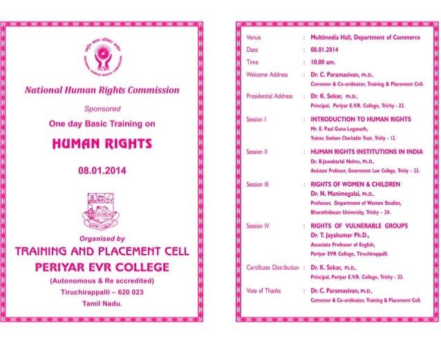 periyar evr college Human rights invitation