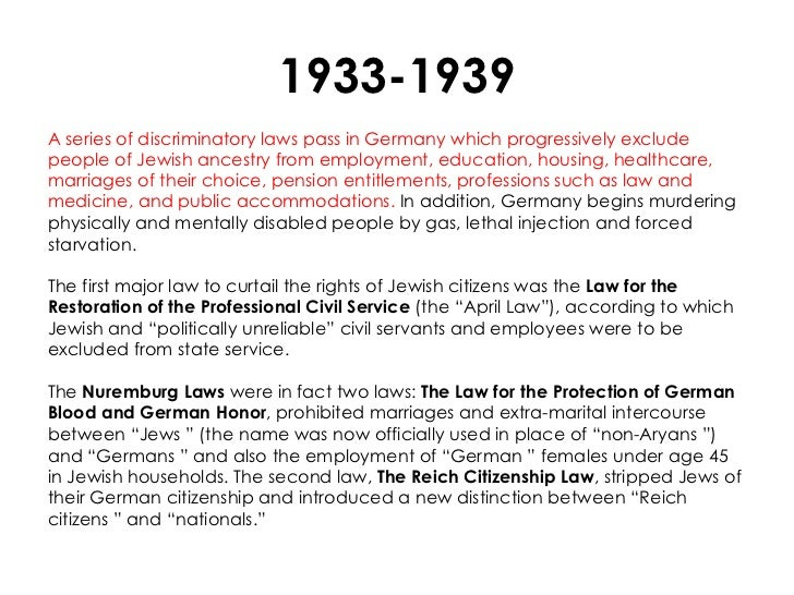 1933-1939A series of discriminatory laws pass in Germany which progressively excludepeople of Jewish ancestry from employm...