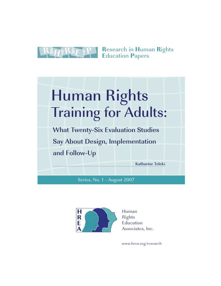 R H R E P          Research in Human Rights                    Education Papers      Human Rights  Training for Adults:  W...