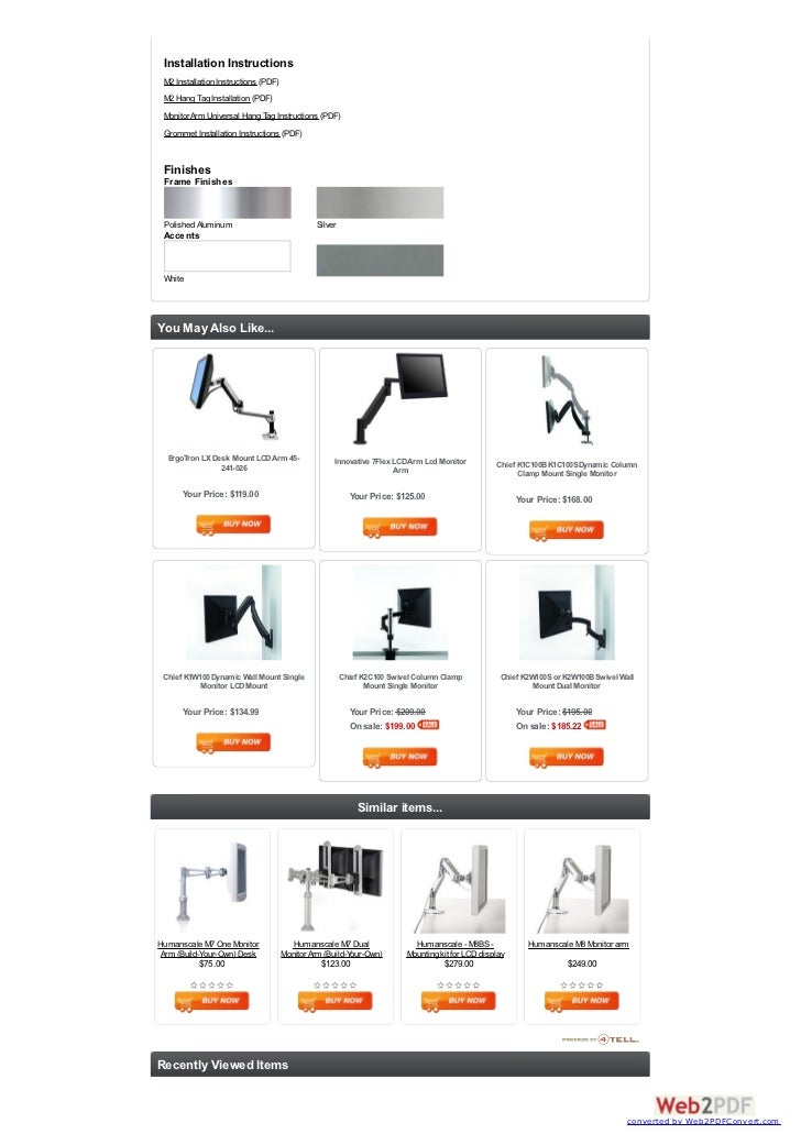 Humanscale M2 Flat Panel Lcd Monitor Arm