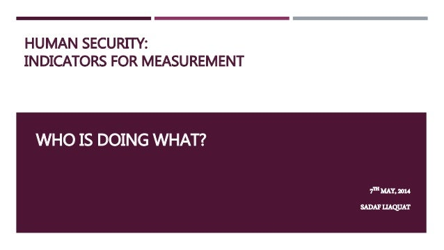 HUMAN SECURITY: INDICATORS FOR MEASUREMENT WHO IS DOING WHAT? 7TH MAY, 2014 SADAF LIAQUAT