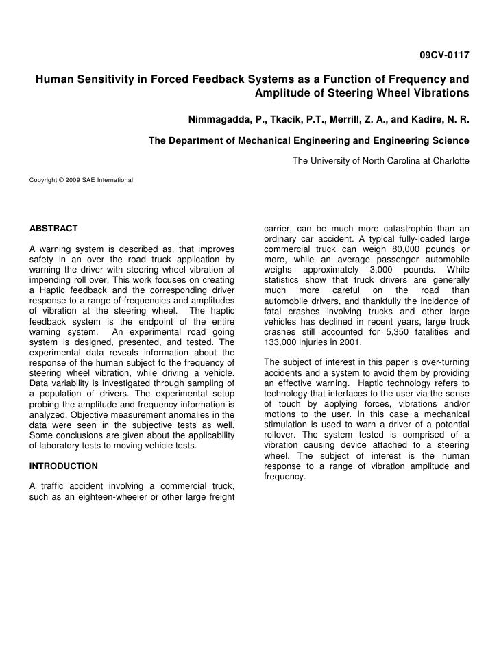 09CV-0117    Human Sensitivity in Forced Feedback Systems as a Function of Frequency and                                  ...