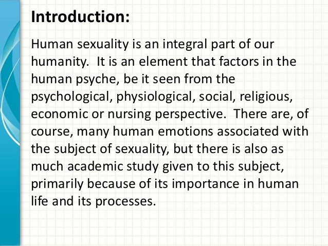 Why Is It Important To Study Human Sexuality
