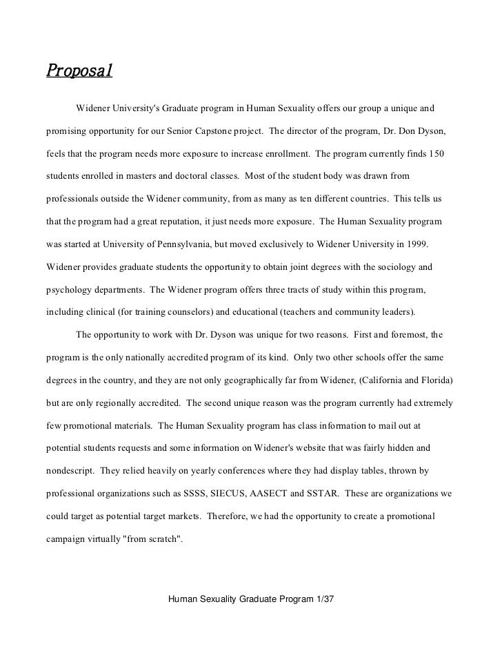 Proposal       Widener Universitys Graduate program in Human Sexuality offers our group a unique andpromising opportunity ...