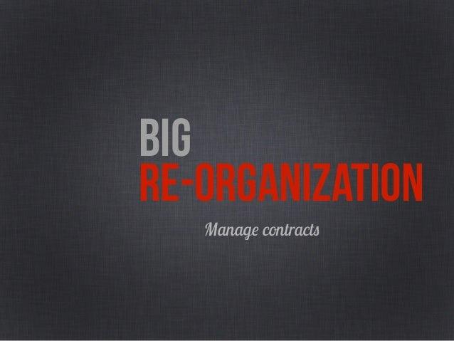 BIG RE-ORGANIZATIONDefine on overall budget