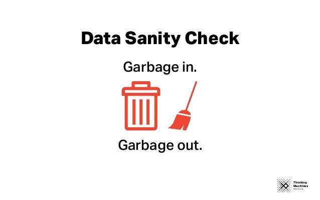 Thinking Machines Data Science Garbage in. Garbage out. Data Sanity Check