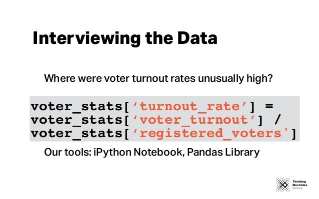 Thinking Machines Data Science Interviewing the Data Where were voter turnout rates unusually high? Our tools: iPython Not...
