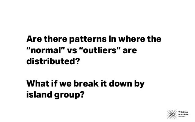 """Are there patterns in where the """"normal"""" vs """"outliers"""" are distributed? What if we break it down by island group?"""
