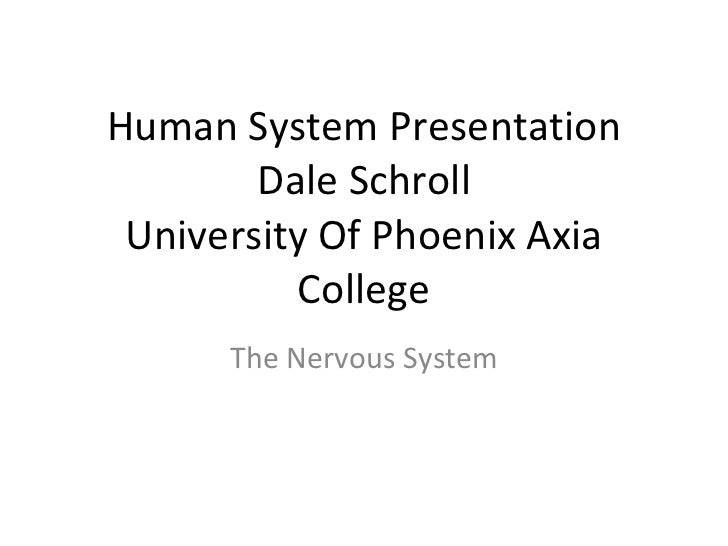 Human System Presentation Dale Schroll University Of Phoenix Axia College The Nervous System