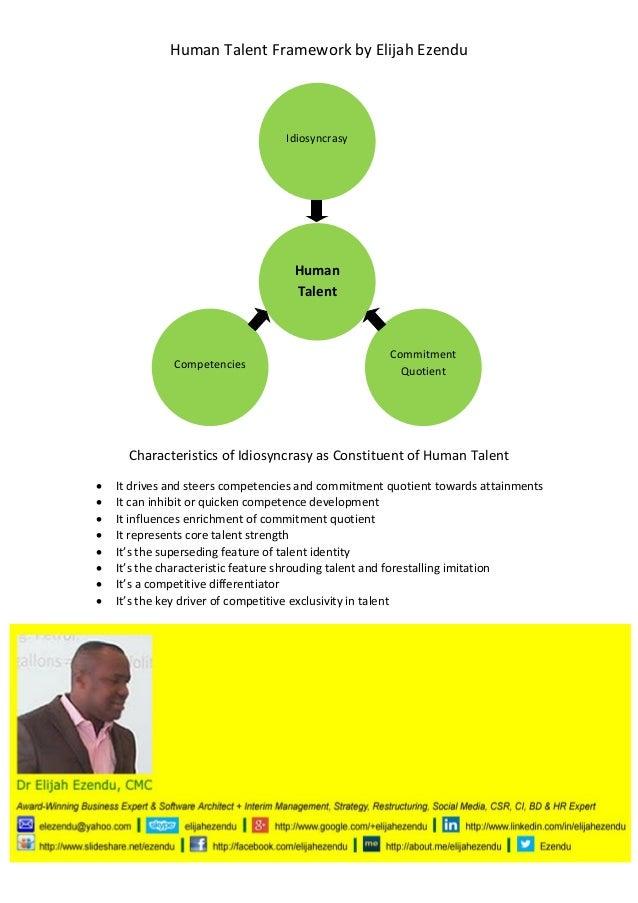 Human Talent Framework by Elijah Ezendu  Idiosyncrasy  Human Talent  Competencies  Commitment Quotient  Characteristics of...